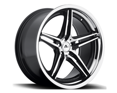 Adventus Wheels AVS-1 - Gloss Black Machined with Stainless Steel Lip