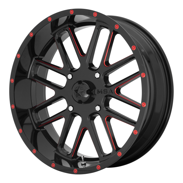 MSA Wheels M35 BANDIT Gloss Black with Milled Red Tint - PartsEngine Canada
